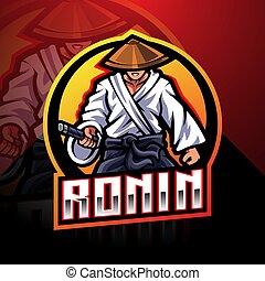 esport, ronin, mascotte, logo, conception