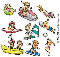 esporte água, caricatura, ícone