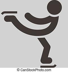 esporte inverno, ícone, -, figura patinar