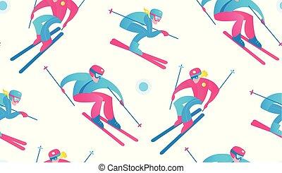 esporte inverno, seamless, pattern., esquiadores, e, snow.