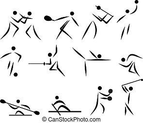 esporte verão, ícone, jogo