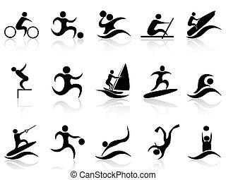 esporte verão, jogo, ícones