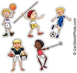 esportes, adesivo, jogo, pessoas