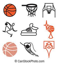 esportes, basquetebol, jogo, ícones