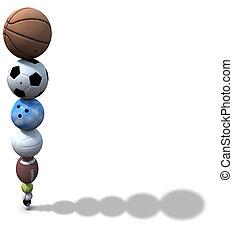 esportes, bola, pilha, fundo