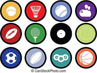 esportes, bolas, botões