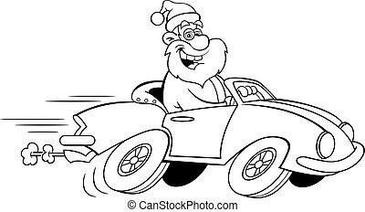 esportes, caricatura, dirigindo, papai noel, carro.