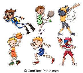 esportes, diferente, jogo, pessoas