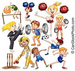 esportes, diferente, muitos, pessoas