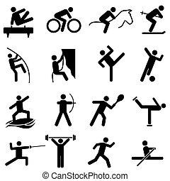 esportes, e, atletismo, ícones