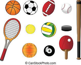 esportes, ilustração, equipamento