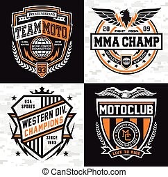 esportes, insignia, emblema, jogo