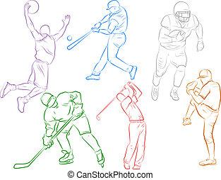 esportes, jogo, ícones