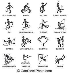 esportes, jogo, extremo, ícones