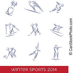 esportes, jogo, inverno, ícone
