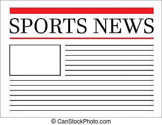 esportes, notícia, manchete, em, jornal