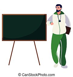 esportes, personagem, chalkboard, professor
