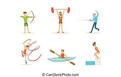 esportes, pessoas, vetorial, tipos, diferente, jogo