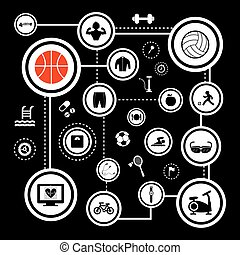 esportes, vetorial, jogo, ícone