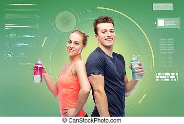 esportiva, água, mulher, garrafas, homem