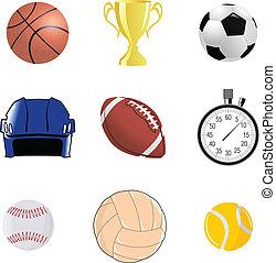esportiva, jogo, objetos