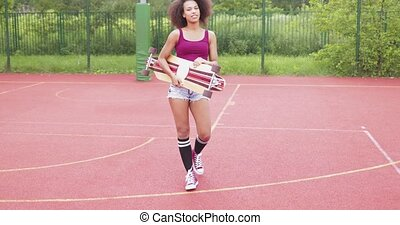 esportiva, mulher, longboard