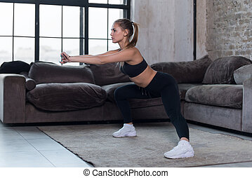 esportiva, squat, atleta, leggings, esportes, pretas,...