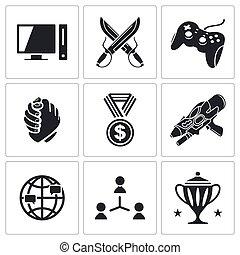 esports, conjunto, iconos