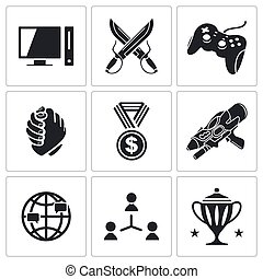 eSports icons set - Sports in cyberspace icon collection on...