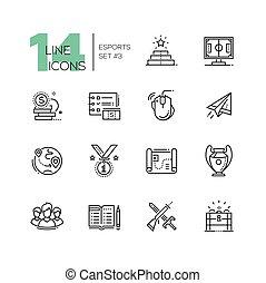 esports, -, moderní, jednoduché vedení, ikona, dát