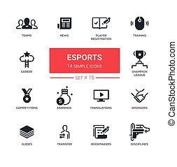 eSports - Modern simple thin line design icons, pictograms...