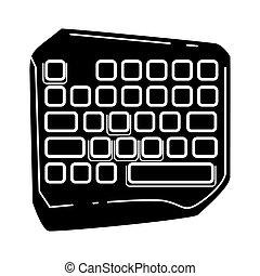 esports, símbolo., juego, ilustración, cortocircuito, computadora, keyboard., vector, juego, teclado, glyph, silueta, equipment., aislado, icon., device.