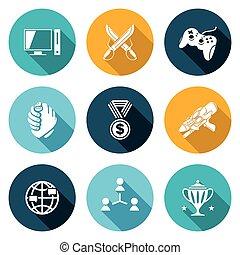esports, set., wektor, illustration., ikony