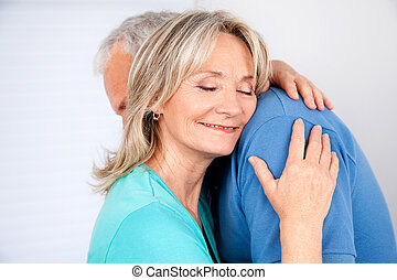 esposa, abraçando, dela, marido