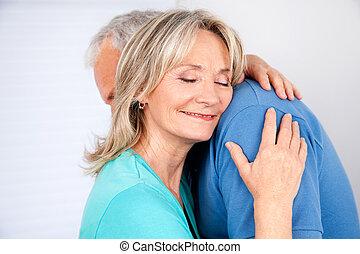 esposa, abrazar, ella, marido