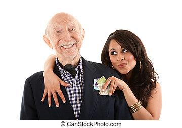 esposa, anciano, compañero, rico, o, gold-digger, hombre