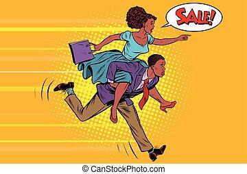 esposa, equitación, marido, corre, en, venta