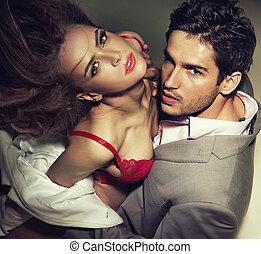 esposa, homem, tentando, seu, seduzir