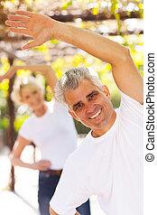 esposa, idade, meio, exercitar, ao ar livre, homem