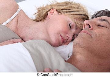 esposa, marido, dormir