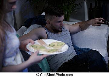 esposa, servindo, sanduíches