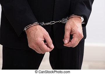 esposas, detenido, hombre