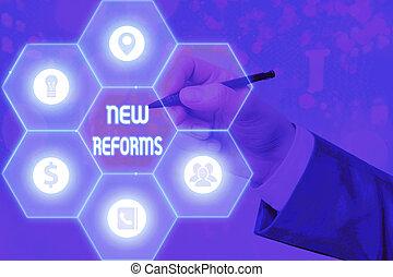 esposizione, affari, reforms., emendare, nota, nuovo, o, ...