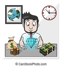 esposizione, diamante, uomo affari