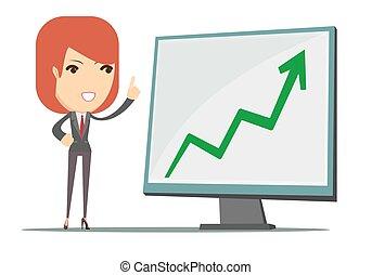 esposizione, donna, crescita, affari