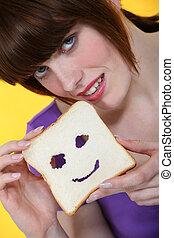 esposizione, donna, fetta, panino, bread