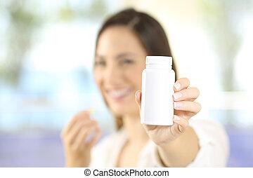 esposizione, donna, pillole, bottiglia