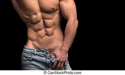esposizione, isolato, uomo, corpo, concept., suo, muscolare, sanità, idoneità, black.