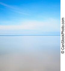 esposizione lunga, photography., linea orizzonte, morbido, mare, blu, cielo