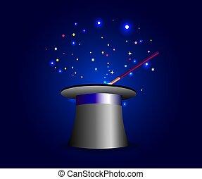 esposizione magica, manifesto, disegno, con, magia, cappello, e, bacchetta magica, su, blu